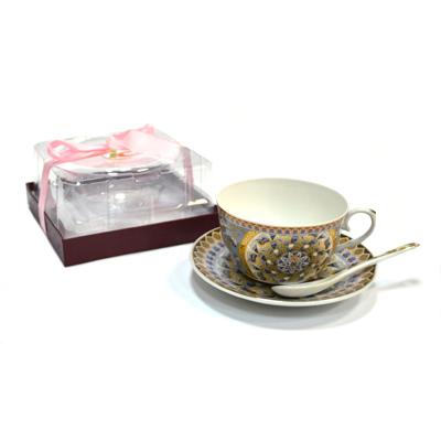 802-533 Набор чайный 3 пр. (чайная пара 240мл + ложечка) Арабская вязь 3/BD02A1