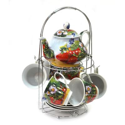 802-574 Набор чайный 13 пр. (6 чайных пар 230мл + чайник 800мл) на металл подставке Клубника 30087