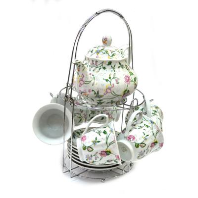 802-576 Набор чайный 13 пр. (6 чайных пар 230мл + чайник 800мл) на металл подставке Полевые цветы 30090