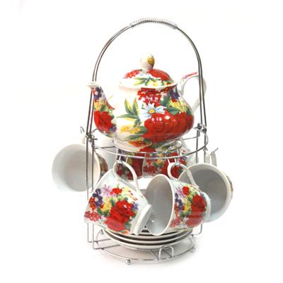 802-578 Набор чайный 13 пр. (6 чайных пар 230мл + чайник 800мл) на металл подставке Торжество 30096