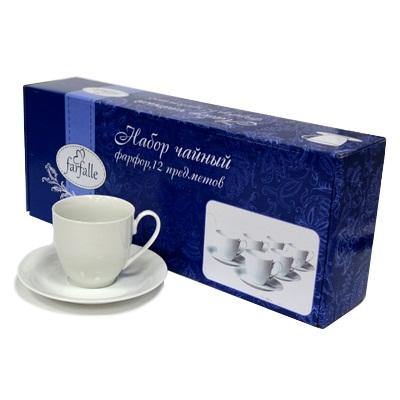 802-596 FARFALLE Набор чайный 12 пр. Классический, 200мл, белый, фрф, подар.упак.