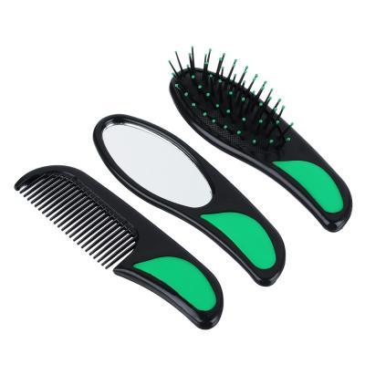 356-538 Набор для ухода за волосами: расческа массажная, гребень, зеркало, пластик, 14 см