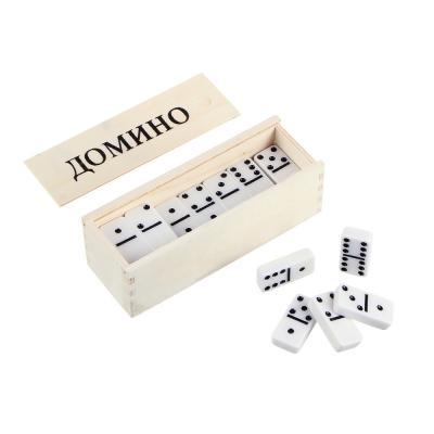 341-001 Домино пластик, в деревянном пенале 15,5х5,5см