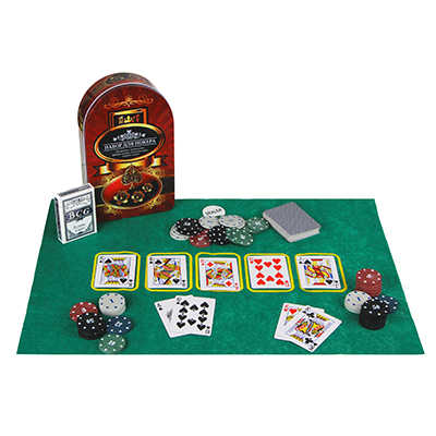 341-004 Набор для покера, в жестяном боксе 24х15см, пластик, металл