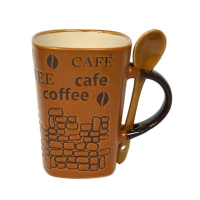 806-393 Кружка 360мл, Coffee с ложечкой инд упак SX012