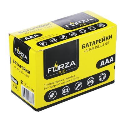 """917-003 Батарейки щелочные, 4 шт, щелочная, тип AAA (LR03), BL, FORZA """"Alkaline"""""""