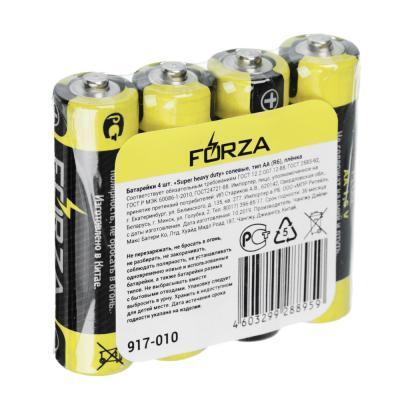 "917-010 Батарейки солевые, 4 шт, тип AA (R6), плёнка, FORZA ""Super heavy duty"""