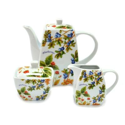 802-012 Лесные ягоды Набор 3 пр. (чайник 1л, сахарница, молочник), в подароч.упак., фрф