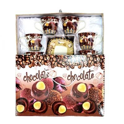 """802-030 Набор чайный 12 пр. """"Шоколадные конфеты"""" 220мл, в подароч.упак., фрф"""