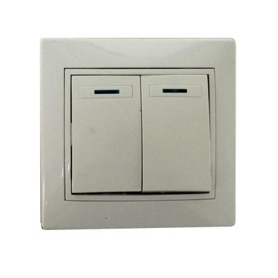904-001 Выключатель Гранд двухклавишный с подсветкой, цвет белый, R1822