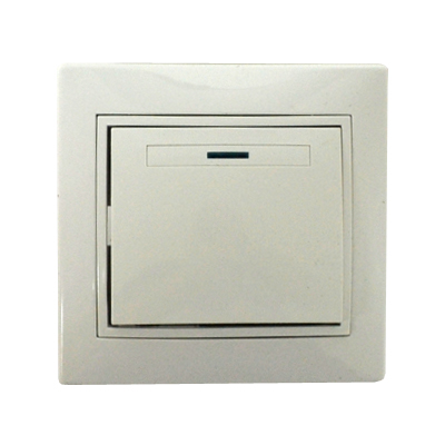 904-007 Выключатель Гранд одноклавишный с подсветкой, цвет белый, R1821