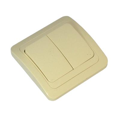 904-021 FORZA Классика Выключатель двухклавишный, цвет бежевый 10А 250В, керамика
