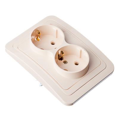 904-031 FORZA Классика Розетка двухместная, с заземлением, цвет бежевый 16А 250В, керамика