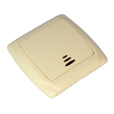 904-033 FORZA Кристалл Выключатель одноклавишный, с подсветкой, цвет бежевый 10А 250В