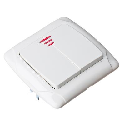904-034 FORZA Кристалл Выключатель двухклавишный, с подсветкой, цвет белый 10А 250В