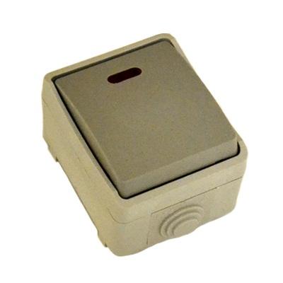 905-003 FORZA Аква Выключатель одноклавишный с подсветкой, накладной 10А 250В, полипропилен