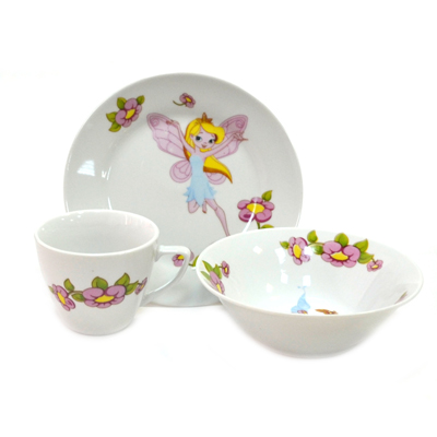 829-030 Набор детский 3пр Феечки (тарелка 175мм, салатник 150мм, чашка 185мл) 833