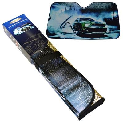 "718-198 NEW GALAXY Шторка солнцезащитная на лобовое стекло, 146х68см, с рисунком ""Авто"""