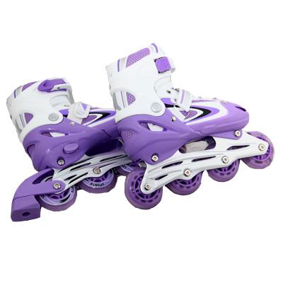 129-019 Коньки роликовые раздвижные, база алюм, колеса PU M:35-38, фиолетовый, 8901B