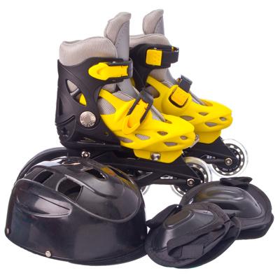 129-063 Коньки роликовые база пластик с набором защиты ПВХ р.L (39-42), цвет желтый, 139Т