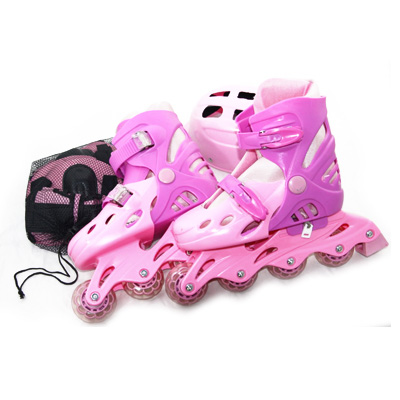 335-065 Коньки роликовые база пластик с набором защиты ПВХ р.M (35-38), цвет розовый, 138Т