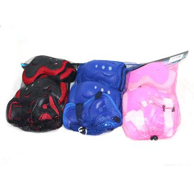 129-072 Набор защиты (колени, локти, запястья) 4 цв., черный, красный, синий, розовый, размер L, 2020