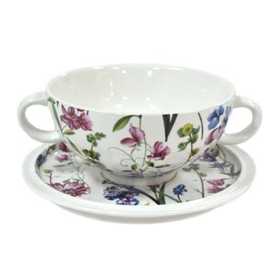 816-290 Луговые цветы Чашка суповая на блюдце 500 мл, в подароч.упак., керамика IMB0304A-DA1616AL