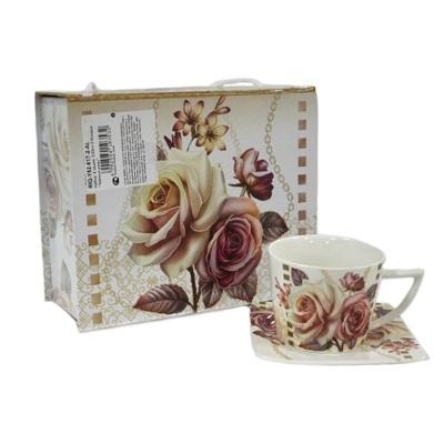 """802-048 Набор чайный 4 пр. """"Чайные розы"""" 220мл, в подароч.упак., фрф RIQ-Y52-617-2-AL"""