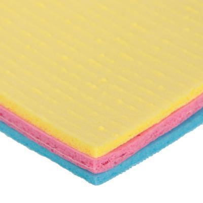 448-079 Набор салфеток для кухни губчатых 3 шт, 15,5х16 см, цветные, GRIFON
