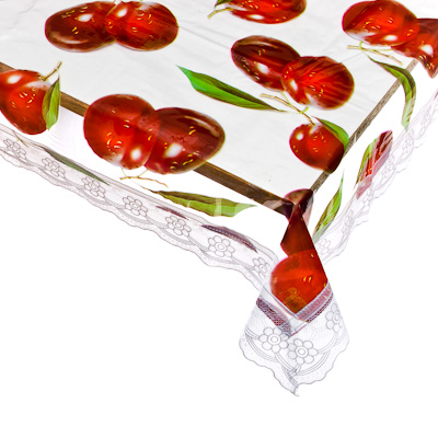 479-065 Скатерть на стол виниловая, прозрачная клеенка с ажурной каймой, 152х228см, VETTA