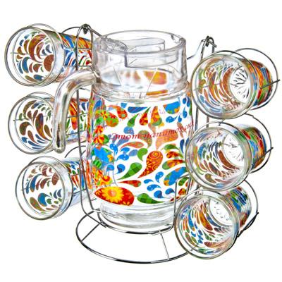 "818-223 VETTA Набор 7 пр. (стаканы 6шт 270мл, кувшин 1,5л с крышкой), стекло, подар.уп, ""Pure Joy"" + металл."
