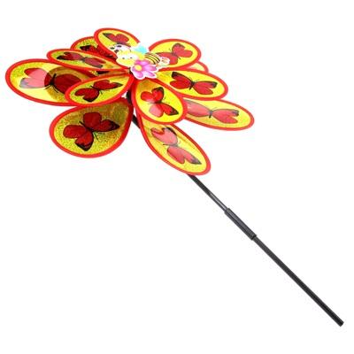 """341-059 Игрушка ветряная вертушка """"Бабочки"""" двойная микс"""