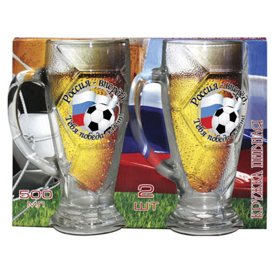 878-257 Кружка для пива 500мл 2шт Футбол Д3865/13