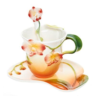 802-090 Набор чайный 3 пр. (чайная пара 150мл + ложечка) Дикая орхидея, 1160064
