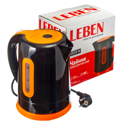 Чайник электрический 1,7л, 1850Вт, скрытый нагр.элемент, пластик, HHB1727