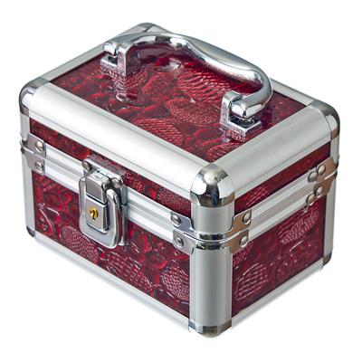 504-150 Шкатулка-кейс для украшений на замке, 14х10х10см, металл, ПВХ, 4 цвета, арт.048С