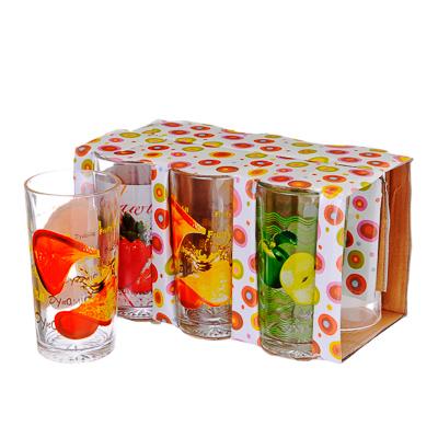 818-478 VETTA Набор стаканов 6шт, стекло, 270мл, подар.уп, Фрукты, 3 дизайна