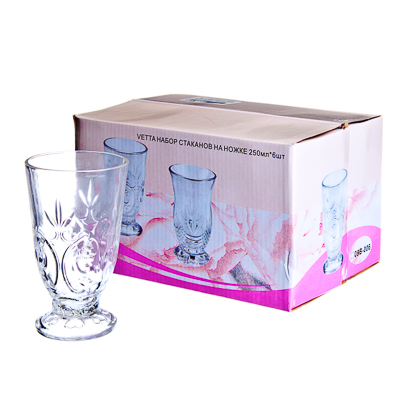 818-481 VETTA Набор стаканов 6шт, стекло, 250мл, подар.уп, на ножке, 09B-006