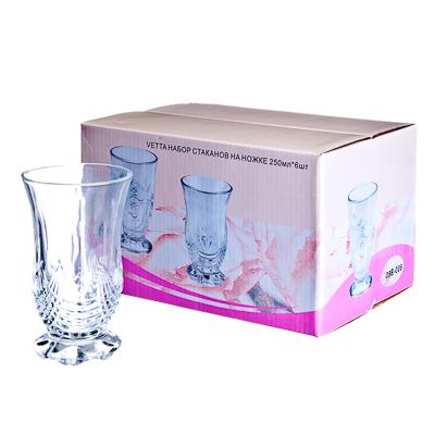 818-482 VETTA Набор стаканов 6шт, стекло, 250мл, подар.уп, на ножке, 09B-039