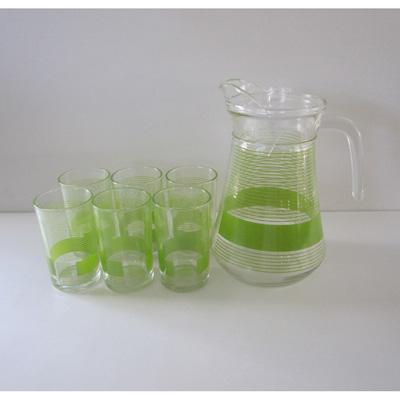 "818-483 VETTA Набор 7 пр. (стаканы 6шт 240мл, кувшин 1,5л с крышкой), стекло, подар.уп, ""Green Strips"""