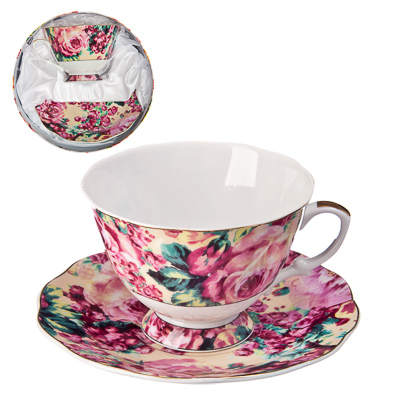 "802-124 Набор чайный 2 пр., 250мл, тнк.фрф, подар. уп, ""Буйство роз"""