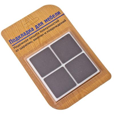 444-104 Подкладки под мебель квадратные, фетр коричневые 38х38мм 8шт