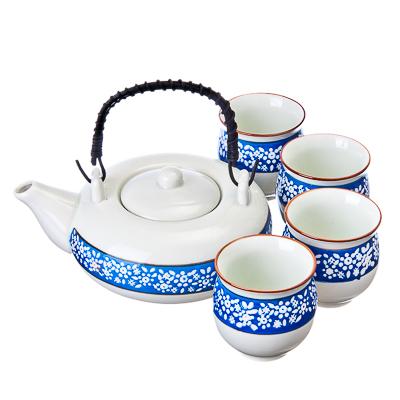 """802-167 Набор для чайной церемонии 5 пр. (чайник + 4 кружки), керамика, """"Синий орнамент"""", белый"""