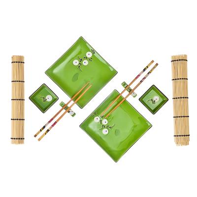 """802-176 Набор для суши 10 пр., квадрат, """"Белые цветы"""", зеленый, подар.уп.."""