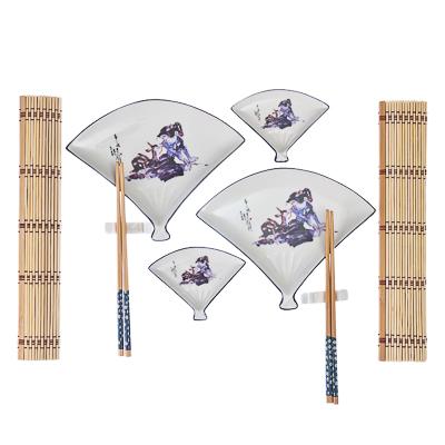 """802-177 Набор для суши 10 пр., в виде веера, """"Девочка с оленем"""", белый, подар.уп."""