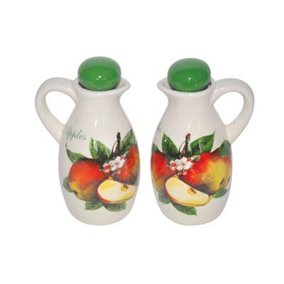 804-591 Яблоневый цвет Набор бутылок 2шт для масла и уксуса, керамика, 150мл