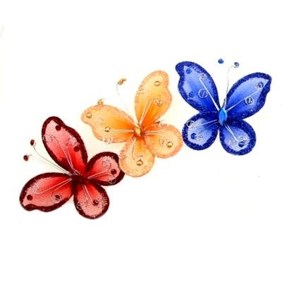 "491-028 Декор для штор ""Бабочка"" на булавке малая, 2 шт, микс"