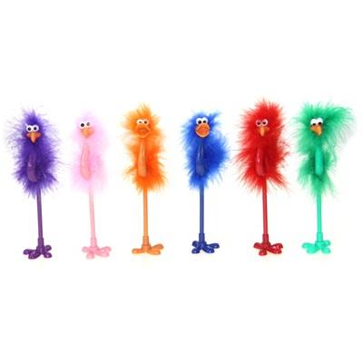 """513-308 Ручка шариковая на подставке, 6 цветов, 21,5 см """"Цапля с пушком"""""""