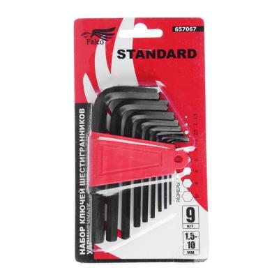 657-067 FALCO Standard Набор ключей - шестигранников 1,5-10мм, 9шт. (011)