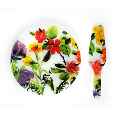 877-005 VETTA Набор для торта 2 пр., стекло, 25см, в подар.уп, Летние цветы JR10/2 PDQ